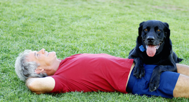 Senior-man-and-his-dog-relaxing-in-the-park